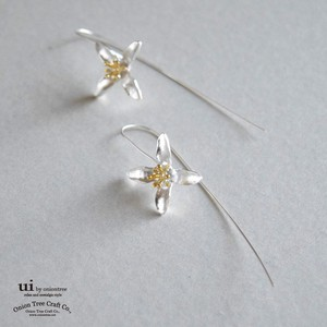 Pierced Earring Flower Long Hook Drop Flower Silver Accessory