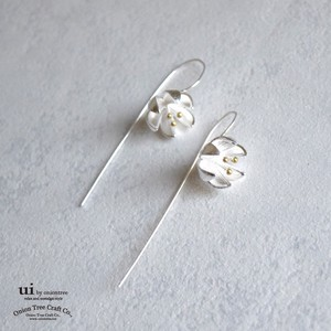 2018 A/W Pierced Earring Flower Drop Flower Silver Accessory
