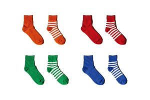 [Women] Reversible short socks / plain×stripes