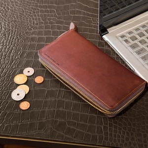 Italian Oil Leather Round Fastener Long Wallet Aging Tokyo