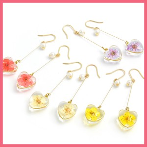 Dry Flower Heart Motif Pierced Earring