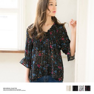 2018 S/S Both Sides Wearing Print Shearing Blouse Top
