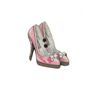 France Wooden Button Atelier Pink High Heel