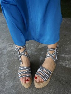 Stripe Lace Wedged Sandal