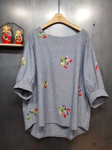 Floret Embroidery Stripe Blouse