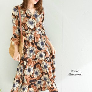 2018 S/S Floral Pattern Long One-piece Dress