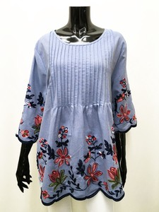Cotton Chambray Flower Embroidery Tunic