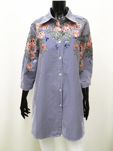 Cotton Stripe Flower Embroidery Blouse