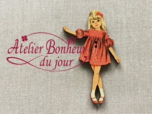 France Wooden Button Atelier Checkered Dress Girl