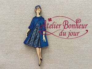 France Wooden Button Atelier Blue Coat Ladies