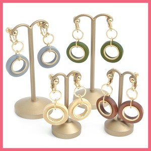 Wood Metal Triple Ring Earring