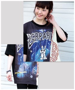 Switching Print Deformation T-shirt