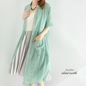 S/S Color Cotton Washer Shirt Long One-piece Dress