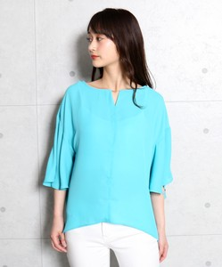 Flare Metal Fittings Attached V-neck Blouse