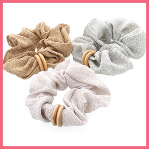 Wood Double Ring Attached Scrunchy