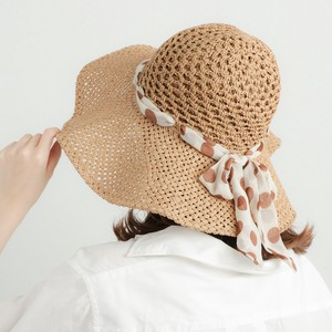 Ladies 2018 S/S Dot Chiffon Ribbon Hand Knitting Hat