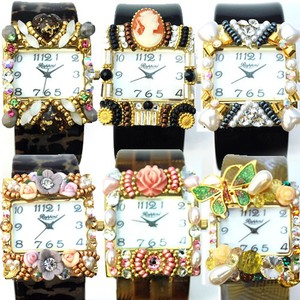 Glitter Decoration Bangle Watch Swarovski Hand Maid Ladies Wrist Watch