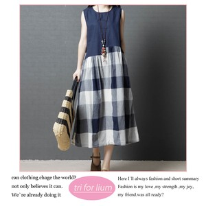 Checkered Switch Design Material One-piece Dress