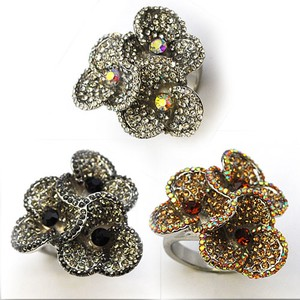Glitter Bouquet Ring Flower Flower Rhinestone Party