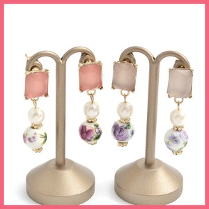 Square Bijou Retro Flower Beads Pierced Earring