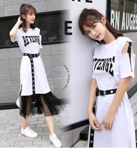 2 Pcs Set T-shirt Skirt Ladies Short Sleeve Casual