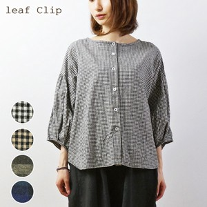 2018 A/W Cotton Linen Checkered Blouse Natural Leisurely