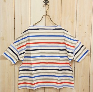 2018 S/S Jersey Stretch Repeating Pattern Half Length Bottle Neck T-Shirt