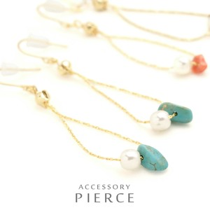Stone Chain Hook Pierced Earring Ethnic Items Sweet Girly Dress Just