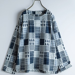 2018 A/W Scandinavia Patchwork Repeating Pattern Blouse