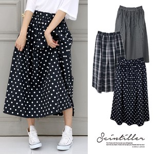 2018 A/W Cotton Gather Long Skirt Dot Gingham Check Checkered