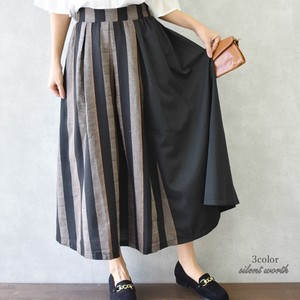 2018 A/W Thick Stripe Color Scheme Switching Tuck Skirt