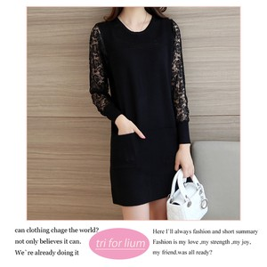 2018 A/W Lace Switch Design Knitted Tunic
