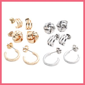 2018 A/W Metal Asia Knot Hoop 6 Pcs Set Pierced Earring