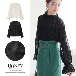 2018 A/W Checkered Lace Neck Top