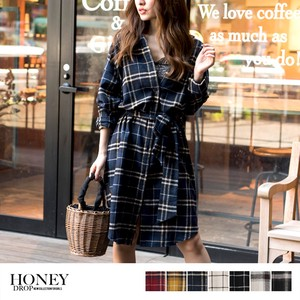 2018 A/W Long Type Cape Gigging Checkered Shirt One-piece Dress