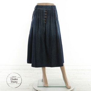 2018 A/W Career Front Fake Button Denim Skirt