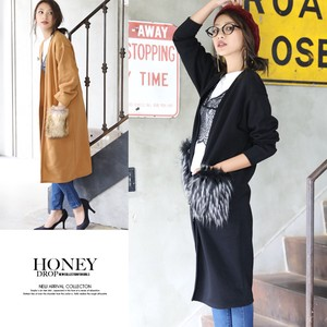 2018 A/W Fur Pocket Raised Back Robe Long Cardigan Light Outerwear