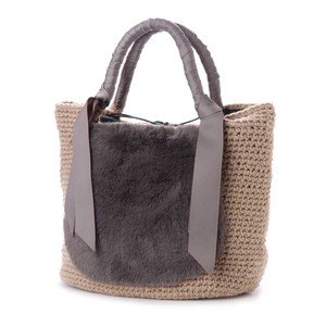 2018 A/W Fur Tape Hand Knitting Tote Bag