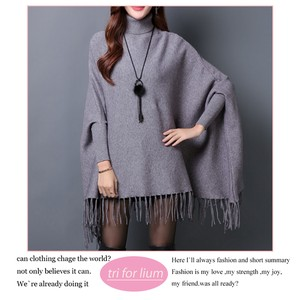 2018 A/W Puffy Knitted Material Poncho Sweater