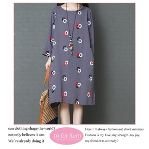 2018 A/W Print Design Material One-piece Dress