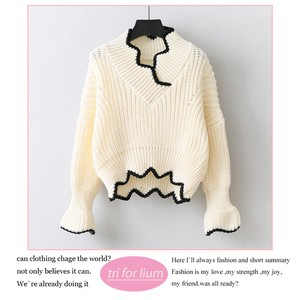 2018 A/W Wavy Line Design Funwari Knitted Sweater