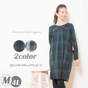 2018 A/W Front Tuck Checkered One-piece Dress