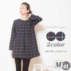 2018 A/W Tuck Checkered One-piece Dress