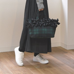 2018 A/W Checkered Mouth Ribbon Attached Tote