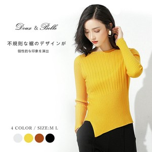 Knitted Sweater Top Neck Long Sleeve Frill