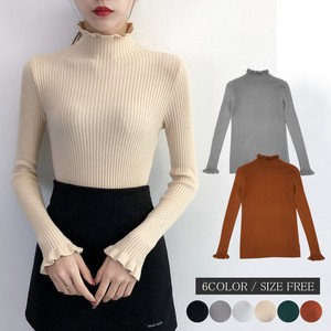Knitted Top Long Sleeve Knitted High Neck Frill Wrap