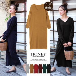 2018 A/W Cashmere V-neck Long Knitted One-piece Dress