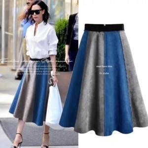 Fake Suede Stretch Line Skirt