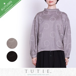 Linen Circle Dot Embroidery Roll Color Blouse