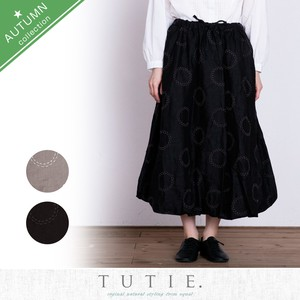 Linen Circle Dot Embroidery Balloon Skirt